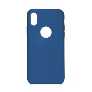Forcell Silicone Case  iPhone X tmavomodrý (with hole)
