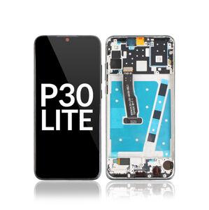LCD displej + dotyková plocha pre Huawei P30 Lite, s rámom - modrý