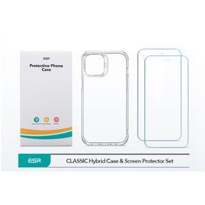 2PACK - 1x ESR Prémiové ochranné tvrdené sklo + 1x kvalitný priesvitný kryt pre Apple iPhone 12/12 Pro