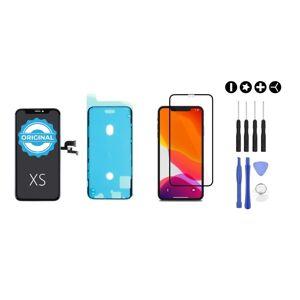 MULTIPACK - ORIGINAL Čierny displej pre iPhone XS + lepka pod displej + 3D ochranné sklo + sada náradia