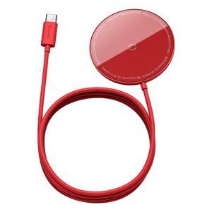BASEUS bezdrôtová nabíjačka - Simple Mini 15W MagSafe - červená