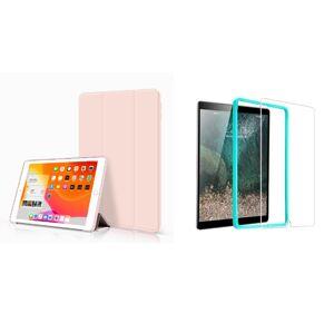 TriFold Smart Case - kryt so stojančekom pre iPad 9.7 (okrem iPad Pro 9.7) - ružový + Ochranné tvrdené sklo s inštalačným rámikom