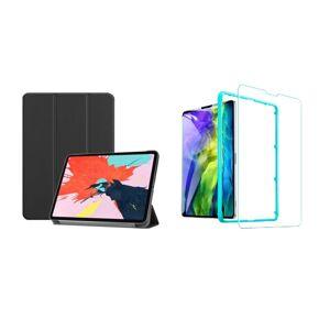 """TriFold Smart Case - kryt so stojančekom pre iPad Pro 12.9"""" 2018/2020/2021 - čierny + Ochranné tvrdené sklo s inštalačným rámikom"""