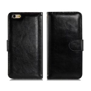 Wallet Leather Flip Case with Credit Card Slots iPhone 6 Plus/6S Plus (Black)